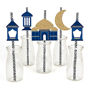 Ramadan - Paper Straw Decor - Eid Mubarak Striped Decorative Straws - Set of 24