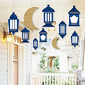 Hanging Ramadan - Outdoor Eid Mubarak Hanging Porch & Tree Yard Decorations - 10 Pieces