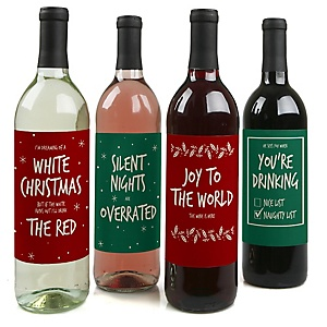 Red And Green Holiday - Holiday Decorations for Women and Men - Wine Bottle Label Stickers - Set of 4