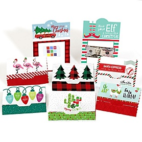 Red & Green Assorted Holiday Cards - Christmas Money And Gift Card Holders - Set of 8