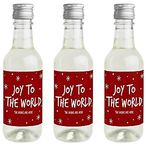 Joy To The World Christmas – Mini Wine and Champagne Bottle Label Stickers – Holiday Party Favor Gift – Set of 16