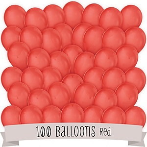 Red - Party Latex Balloons - 100 ct