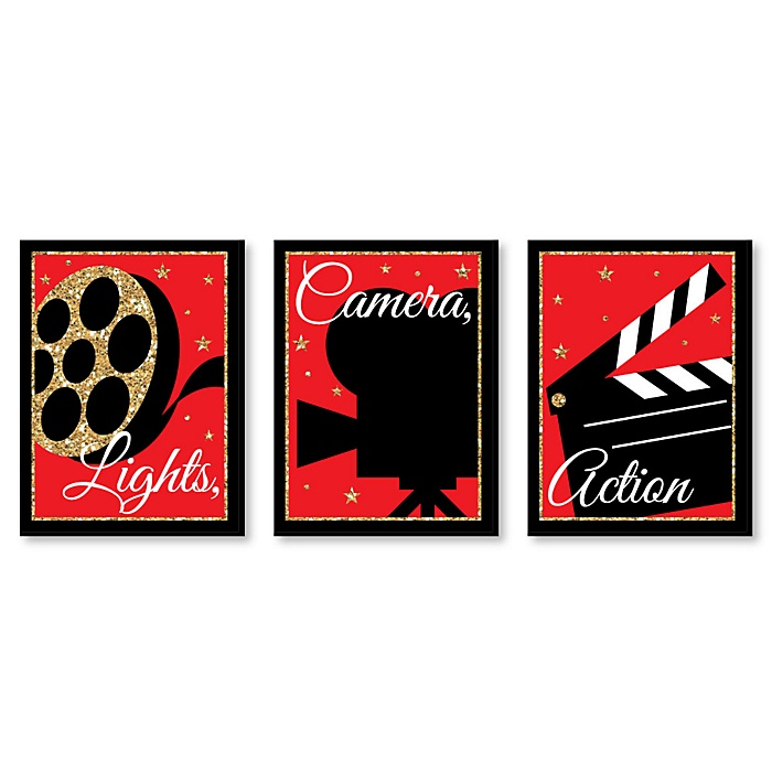 Red Carpet Hollywood - Movie Wall Art and Home Theater Room Decorations - 7.5 x 10 inches - Set of 3 Prints