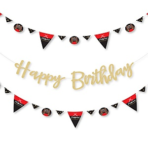 Red Carpet Hollywood - Movie Night Party Birthday Party Letter Banner Decoration - 36 Banner Cutouts and No-Mess Real Gold Glitter Happy Birthday Banner Letters