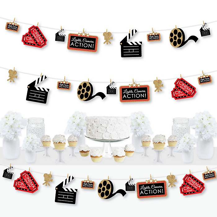 Red Carpet Hollywood - Movie Night Party DIY Decorations - Clothespin Garland Banner - 44 Pieces