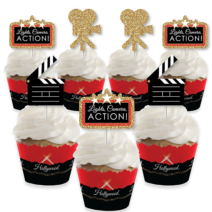 Red Carpet Hollywood - Cupcake Decoration - Movie Night Party Cupcake Wrappers and Treat Picks Kit - Set of 24