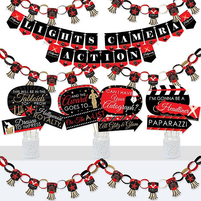 Red Carpet Hollywood - Banner and Photo Booth Decorations - Movie Night Party Supplies Kit - Doterrific Bundle