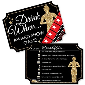Red Carpet Hollywood - Drink When Movie Night Party Game Cards - Drinking Game - 20 cards