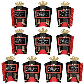 Red Carpet Hollywood - Table Decorations - Movie Night Party Fold and Flare Centerpieces - 10 Count