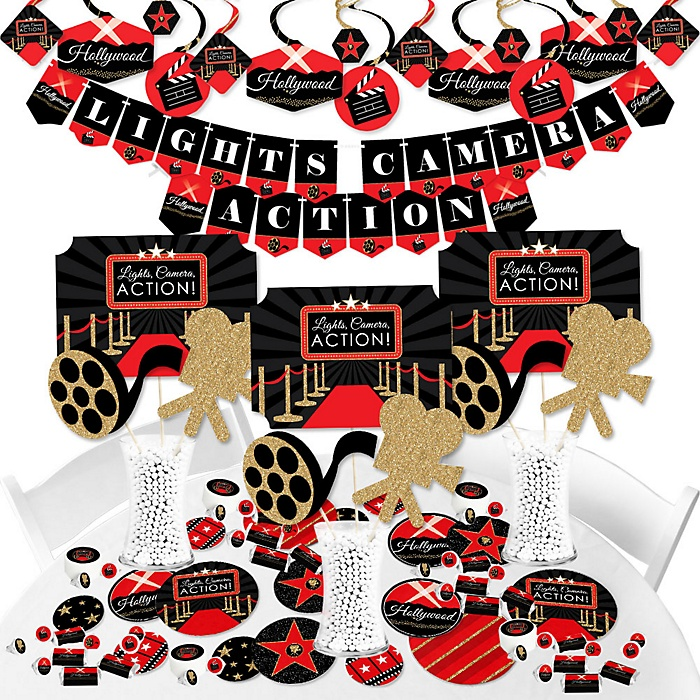 Red Carpet Hollywood - Movie Night Party Supplies - Banner Decoration Kit - Fundle Bundle