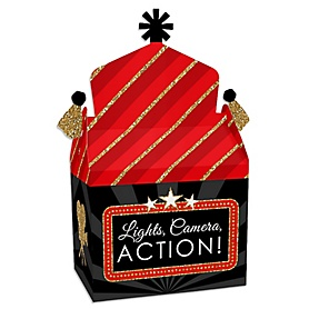 Red Carpet Hollywood - Treat Box Party Favors - Movie Night Party Goodie Gable Boxes - Set of 12