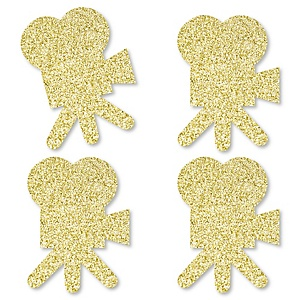 Gold Glitter Movie Camera - No-Mess Real Gold Glitter Cut-Outs - Red Carpet Hollywood Movie Night Party Confetti - Set of 24
