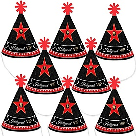 Red Carpet Hollywood - Mini Cone Movie Night Party Hats - Small Little Party Hats - Set of 8