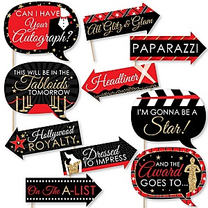 Funny Red Carpet Hollywood - 10 Piece Photo Booth Props Kit