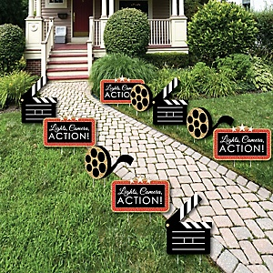 Red Carpet Hollywood - Movie Night Party Lawn Decorations - Outdoor Yard Art Decorations - 10 Piece