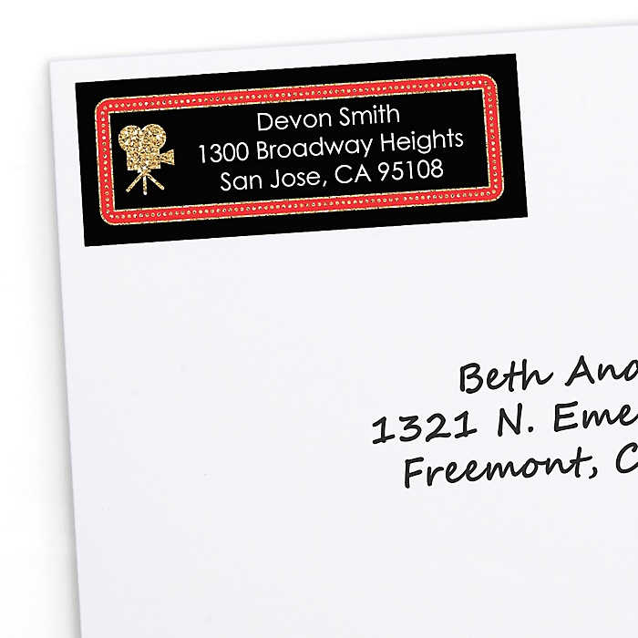 Red Carpet Hollywood - Personalized Movie Night Party Return Address Labels - 30 ct