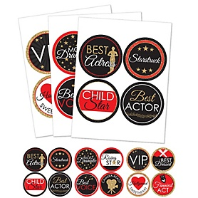 Red Carpet Hollywood - Movie Night Party Funny Name Tags - Award Party Badges Sticker Set of 12