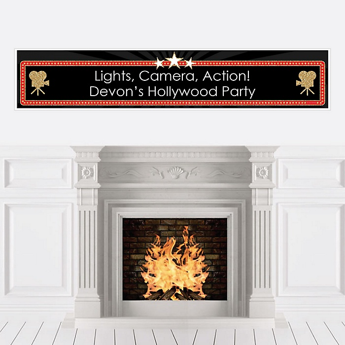 Red Carpet Hollywood - Personalized Movie Night Party Banner