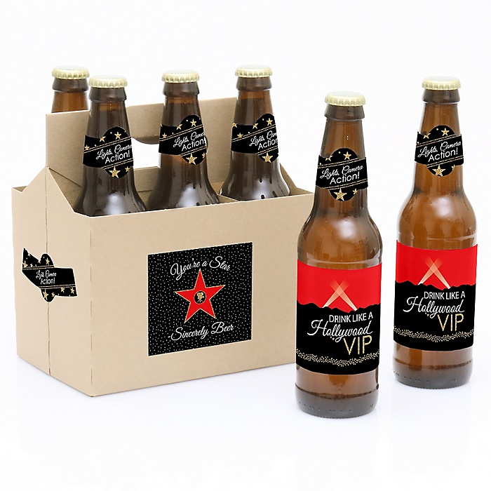 Red Carpet Hollywood - Decorations for Women and Men - 6 Movie Night Party Decorations for Women and Men - Decorations for Women and Men - 6 Beer Bottle Label Stickers and 1 Carrier
