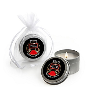 Red Carpet Hollywood - Personalized Movie Night Party Candle Tin Favors - Set of 12