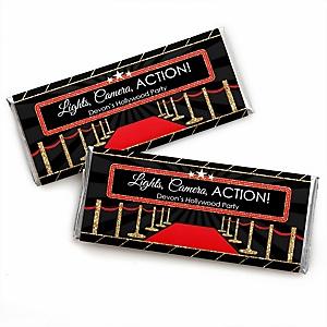 Red Carpet Hollywood - Personalized Candy Bar Wrapper Movie Night Party Favors - Set of 24