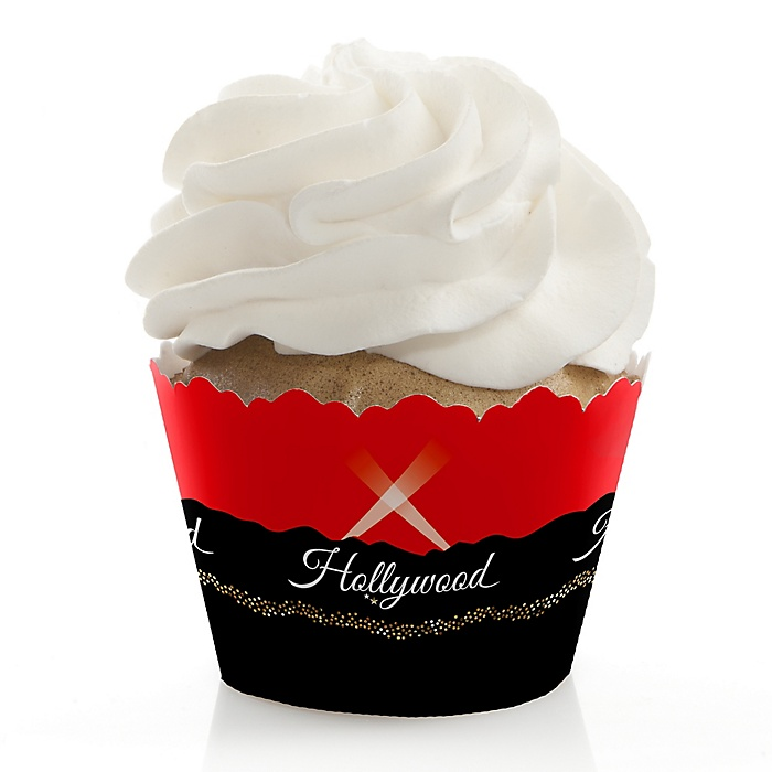 Red Carpet Hollywood - Movie Night Party Decorations - Party Cupcake Wrappers - Set of 12
