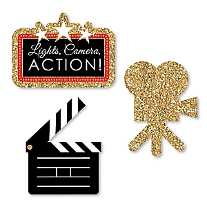 Red Carpet Hollywood - DIY Shaped Movie Night Party Cut-Outs - 24 ct