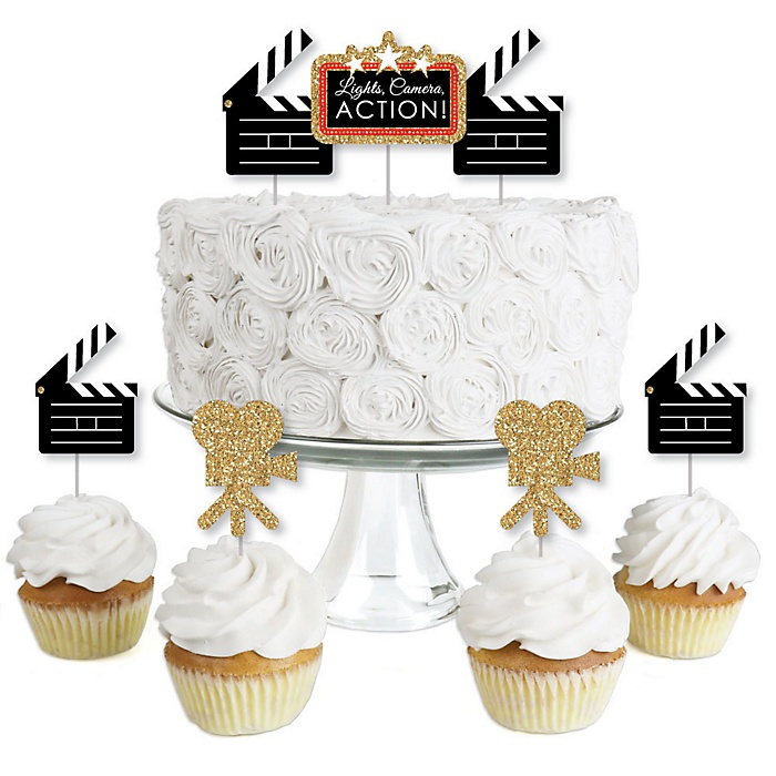 Red Carpet Hollywood - Dessert Cupcake Toppers - Movie Night Party Clear Treat Picks - Set of 24