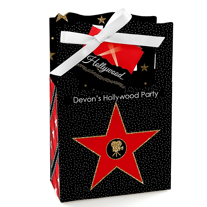 Red Carpet Hollywood - Personalized Movie Night Party Favor Boxes - Set of 12
