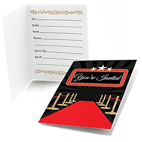 Red Carpet Hollywood - Set of 8 Fill In Movie Night Party Invitations
