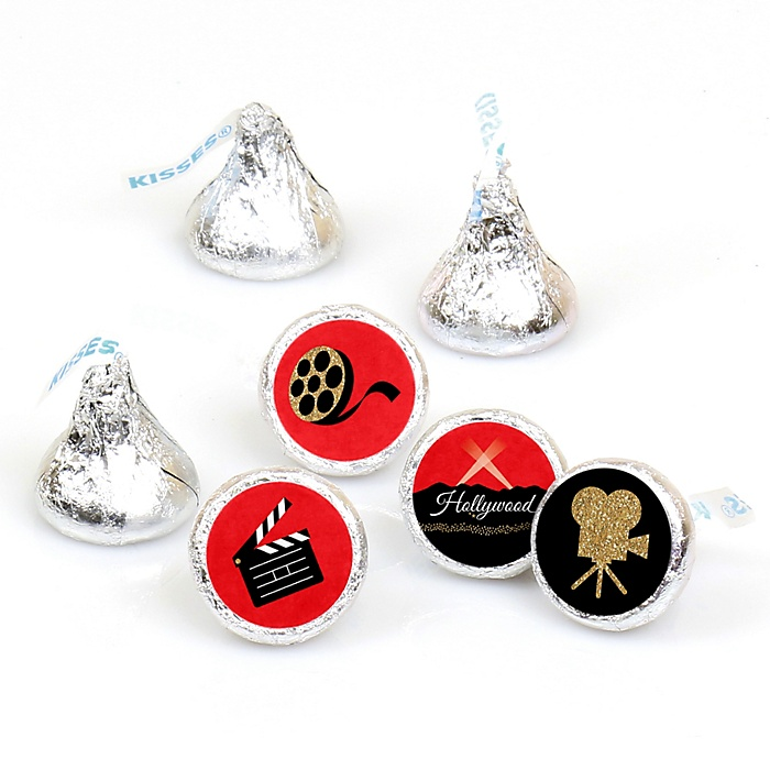 Red Carpet Hollywood - Round Candy Labels Movie Night Party Favors - Fits Hershey's Kisses - 108 ct