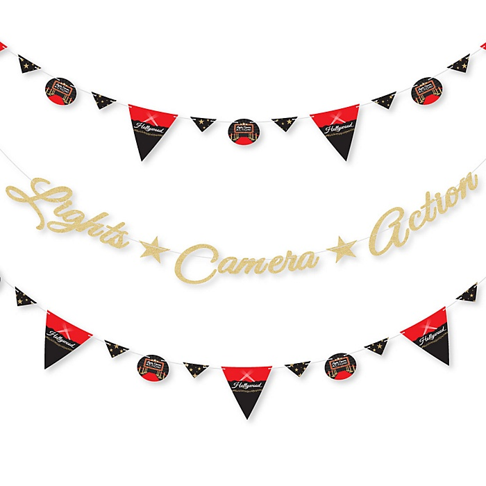 Red Carpet Hollywood - Movie Night Party Letter Banner Decoration - 36 Banner Cutouts and No-Mess Real Gold Glitter Movie Night Party Banner Letters