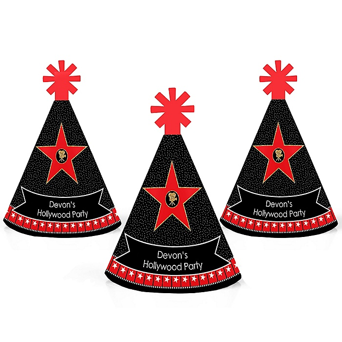 Red Carpet Hollywood - Personalized Mini Cone Movie Night Party Hats - Small Little Party Hats - Set of 10