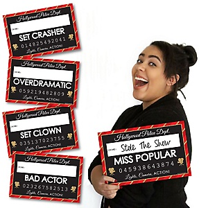 Red Carpet Hollywood - Party Mug Shots - 20 Piece Movie Night Party Photo Booth Props Kit