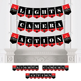 Red Carpet Hollywood - Personalized Movie Night Party Bunting Banner & Decorations