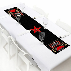 "Red Carpet Hollywood - Personalized Petite Movie Night Party Table Runner - 12"" x 60"""