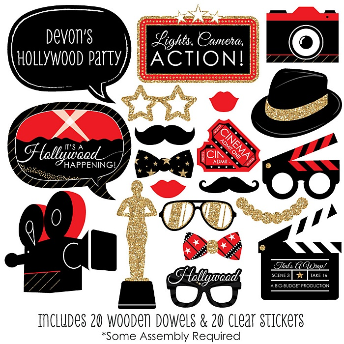 Red Carpet Hollywood - 20 Piece Movie Night Party Photo Booth Props Kit
