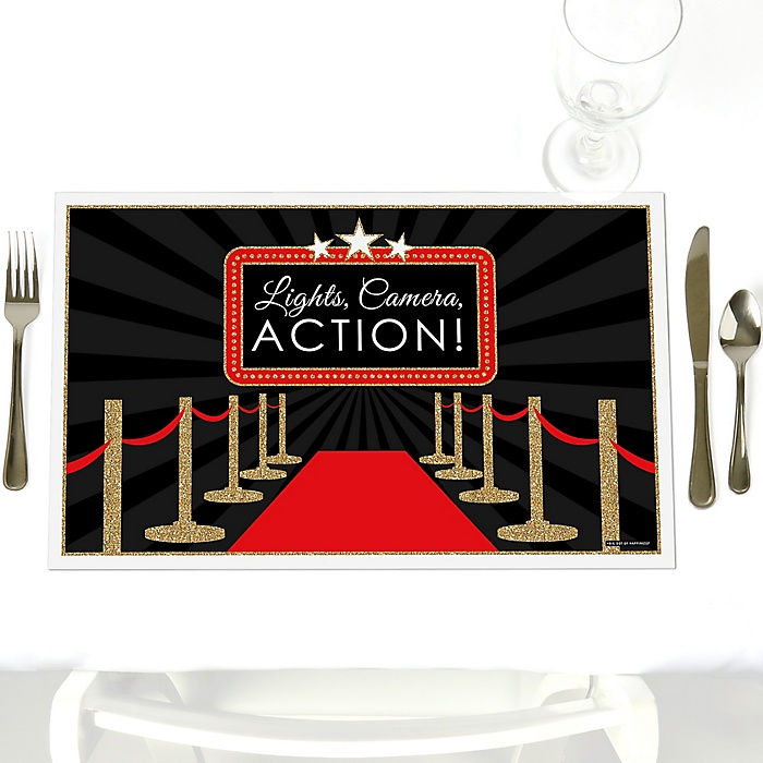 Red Carpet Hollywood - Party Table Decorations - Movie Night Party Placemats - Set of 12