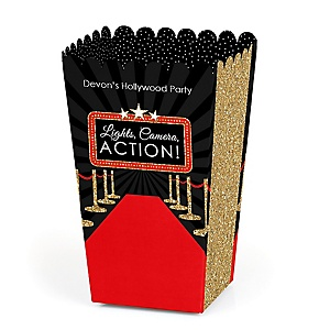 Red Carpet Hollywood - Personalized Movie Night Party Popcorn Favor Treat Boxes - Set of 12