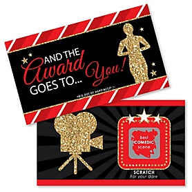 Red Carpet Hollywood - Movie Night Party Game Award Scratch Off Cards - 22 Cards