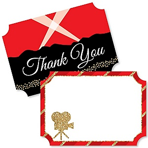 Red Carpet Hollywood - Shaped Thank You Cards - Movie Night Party Thank You Note Cards with Envelopes - Set of 12