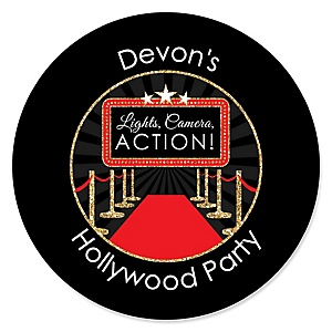 Red Carpet Hollywood - Round Personalized Movie Night Party Sticker Labels - 24 ct