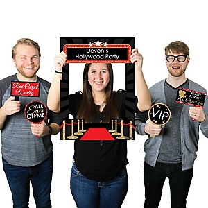 Red Carpet Hollywood - Personalized Movie Night Party Selfie Photo Booth Picture Frame & Props - Printed on Sturdy Material