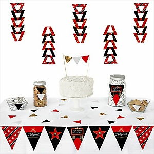 Red Carpet Hollywood -  Triangle Movie Night Party Decoration Kit - 72 Piece