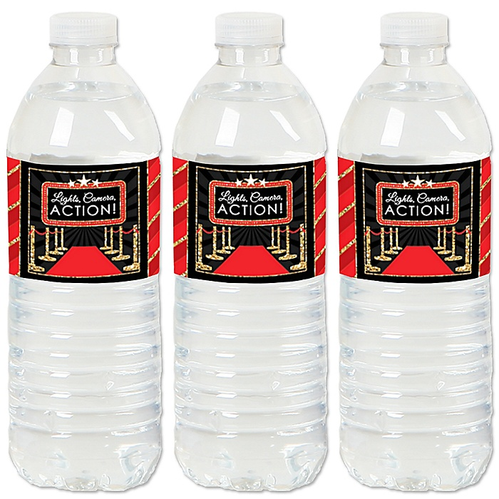 Red Carpet Hollywood - Movie Night Party Water Bottle Sticker Labels - Set of 20