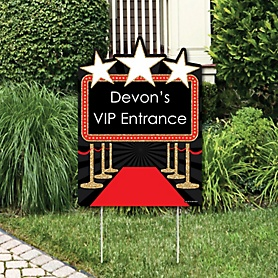 Red Carpet Hollywood - Party Decorations - Movie Night Party Personalized Welcome Yard Sign