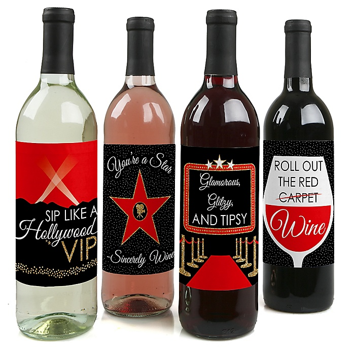 Red Carpet Hollywood - Movie Night Party Decorations for Women and Men - Wine Bottle Label Stickers - Set of 4