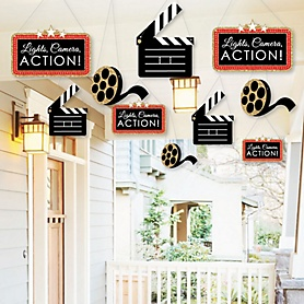 Hanging Red Carpet Hollywood - Outdoor Movie Night Party Hanging Porch and Tree Yard Decorations - 10 Pieces