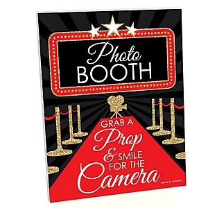 Red Carpet Hollywood Photo Booth Sign - Movie Night Party Decorations - Printed on Sturdy Plastic Material - 10.5 x 13.75 inches - Sign with Stand - 1 Piece