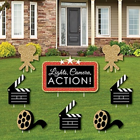 Red Carpet Hollywood - Yard Sign & Outdoor Lawn Decorations - Movie Night Party Yard Signs - Set of 8
